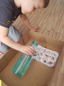 Kilkuletni chłopiec polewa wodą z butelki na tackę z wysianymi nasionami rzeżuchy.